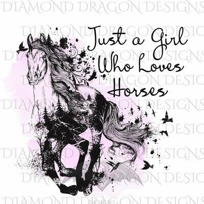 Horses - Watercolor Horse, Just a Girl Who Loves Horses, Horse Girl, Horse Lover, Pink, Waterslide