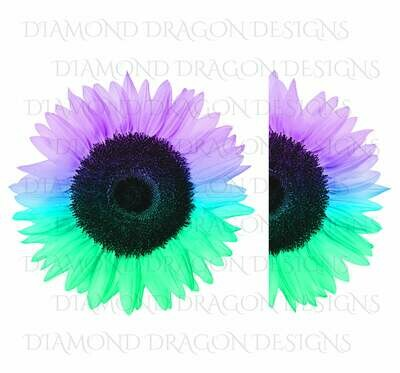 Sunflowers - Whole Sunflower, Half Sunflower, 2 Image Bundle, Purple Blue Green, Real Sunflower, Waterslide