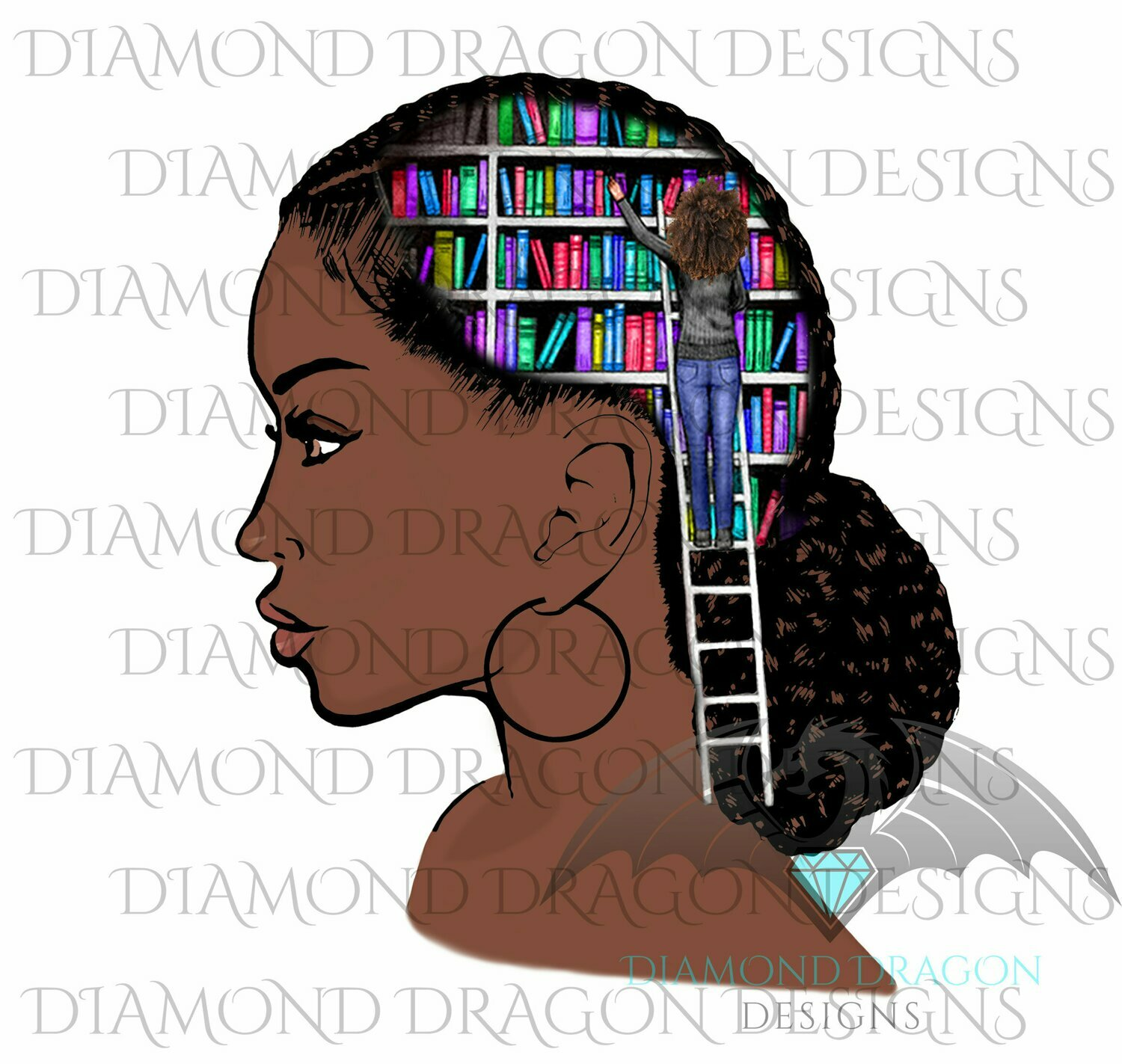 Books - Lady Library, Book Girl, Book Lover, Woman with Books, Bookshelf, Vibrant, Waterslide
