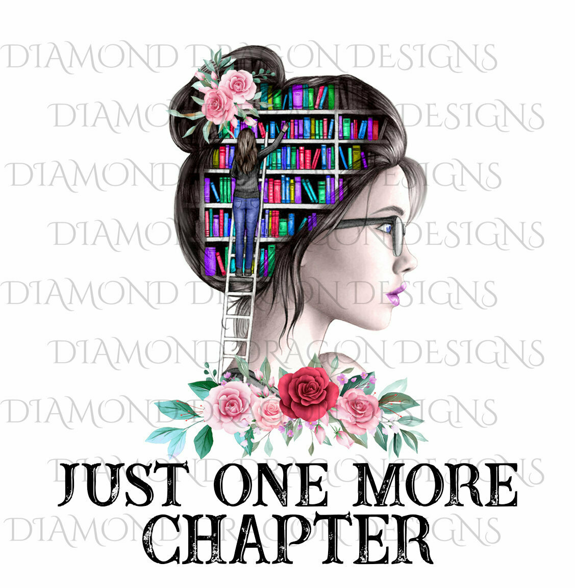 Books - Just One More Chapter, Lady Library, Pink Floral, Waterslide