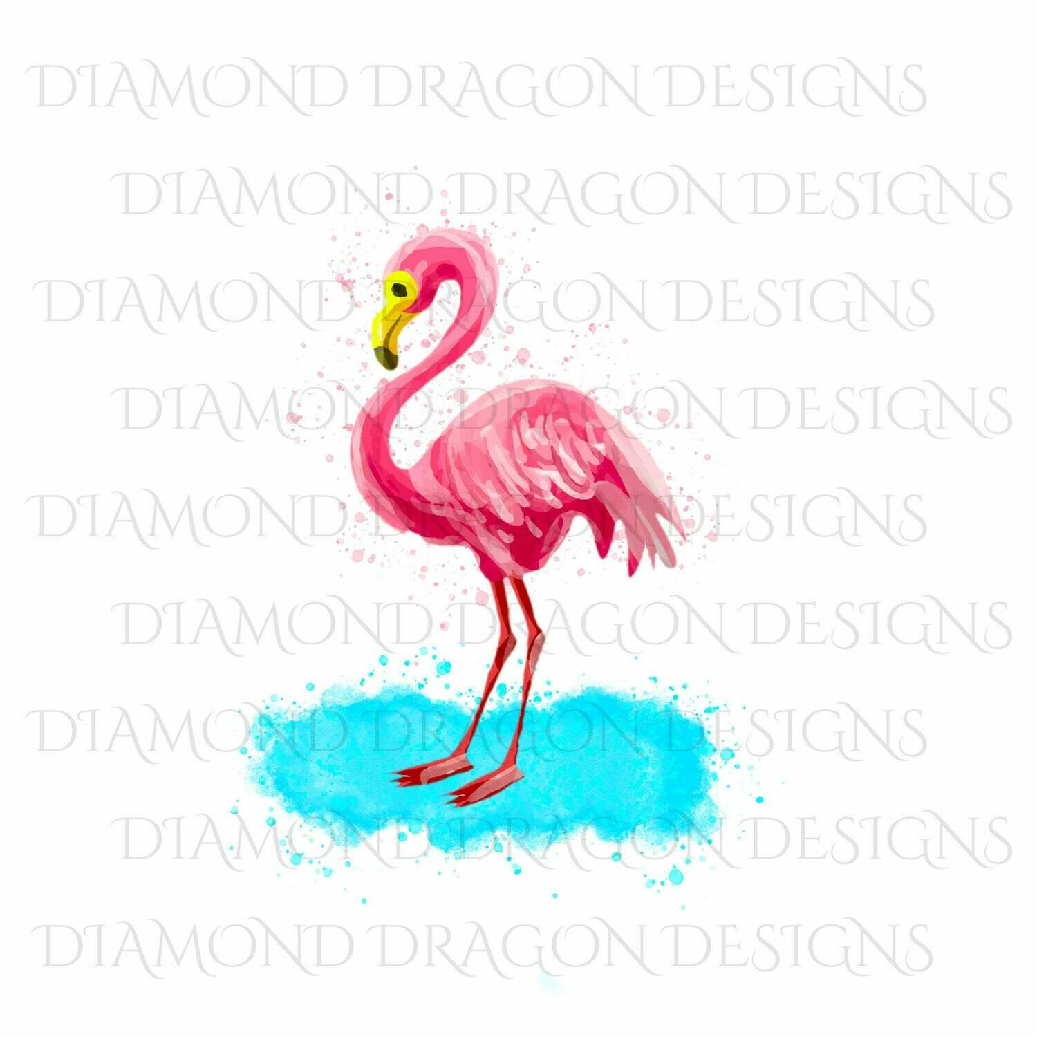 Birds - Watercolor Flamingo, Vibrant Flamingo, Waterslide
