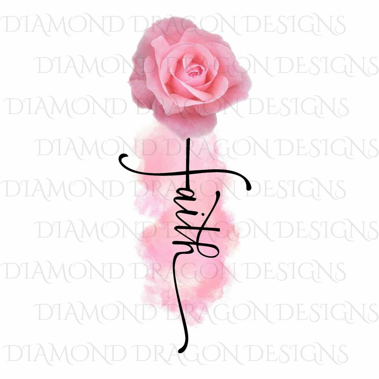Faith - Pink Rose, Faith Cross, Watercolor, Waterslide