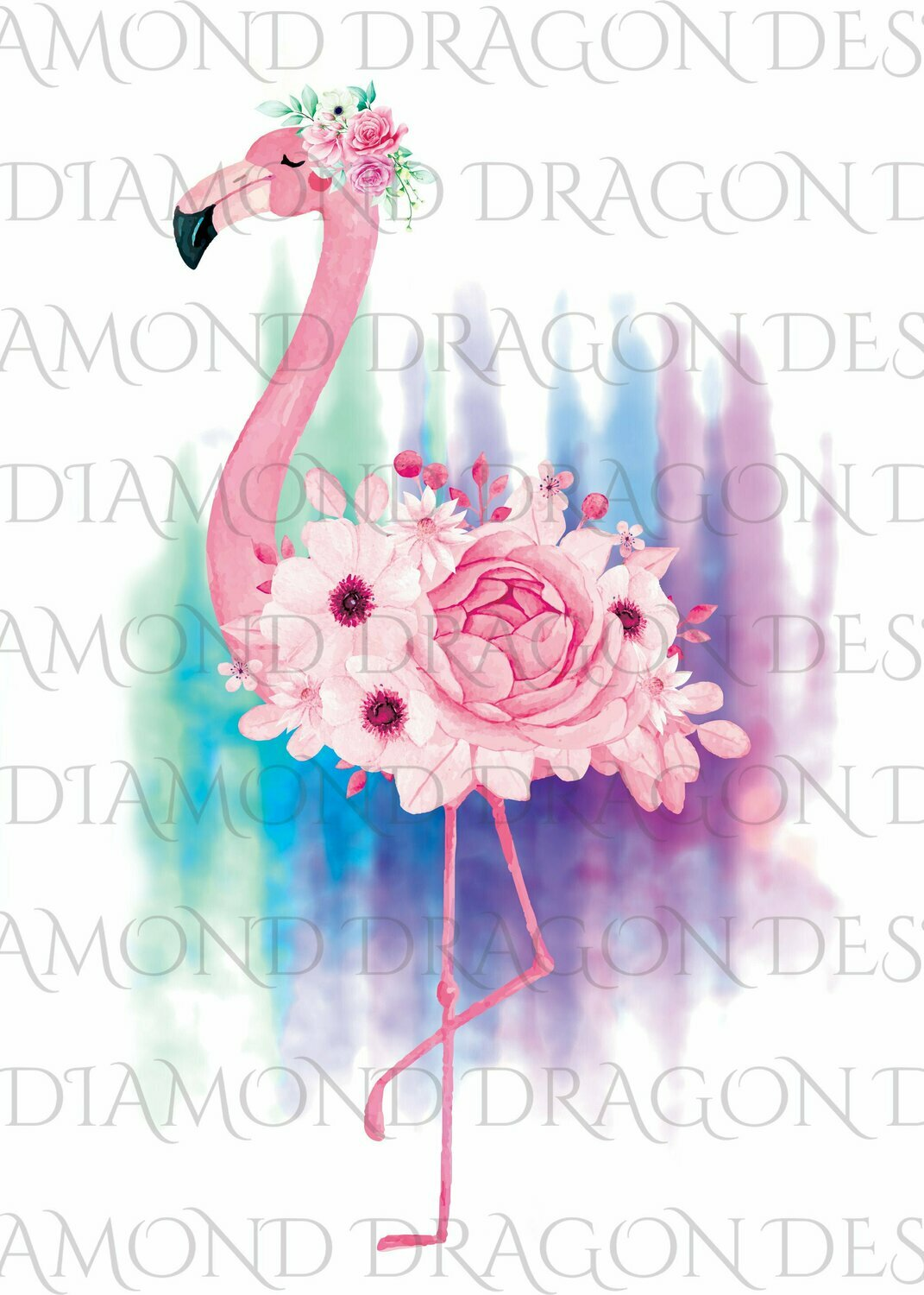Birds - Watercolor Floral Flamingo, Flower Flamingo, Watercolor Flamingo, Floral Flamingo, Waterslide