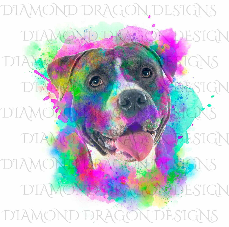 Dogs - Watercolor Pitbull, Rainbow Pitbull, Watercolor dog, Colorful, Blue Pitbull, Waterslide