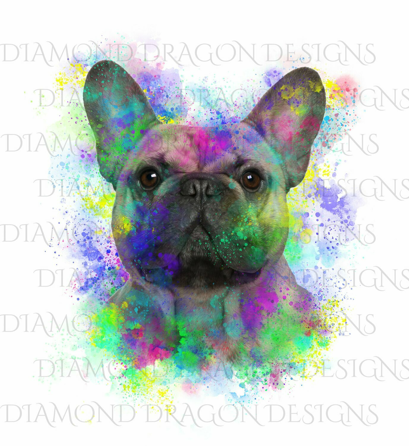 Dogs - Watercolor French Bulldog, Rainbow French Bulldog, French Bulldog Watercolor, Waterslide