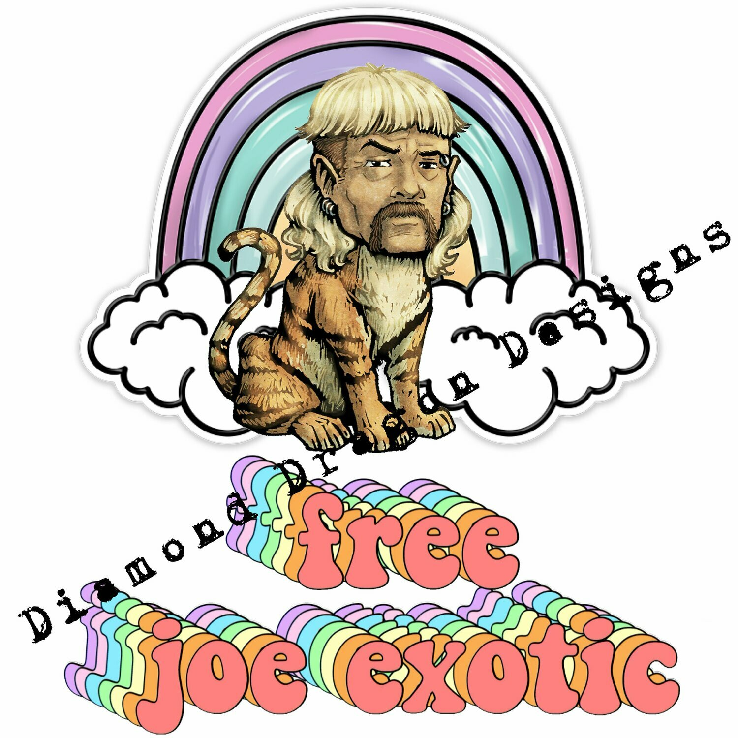 Popular Icons - Tiger King, Joe Exotic, Free Joe Exotic, Rainbow, Waterslide