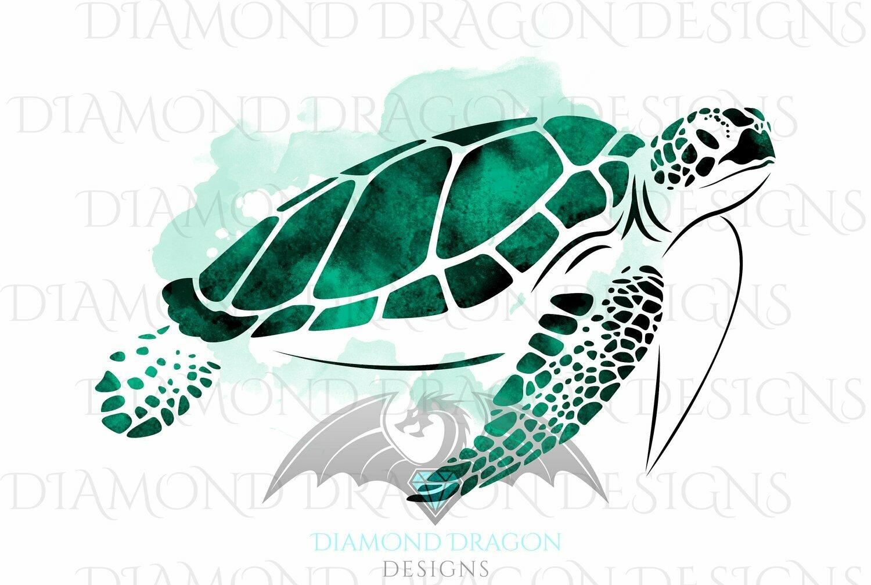 Turtles - Sea Turtle, Watercolor Sea Turtle, Jade Green Sea Turtle, Waterslide