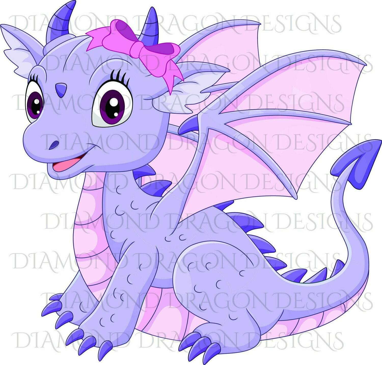Kids - Cute Girl Dragon, Baby Dragon, Cute Little Girl Dragon, Purple Pink Bow, Waterslide