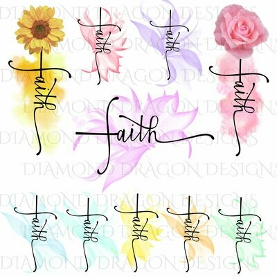 Faith - 10 Faith Cross Bundle, Watercolor Flower Faith Cross, Sunflower Faith Cross, Waterslide