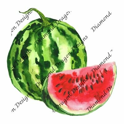 Watermelon - Summer, Summer time, Watercolor, Waterslide