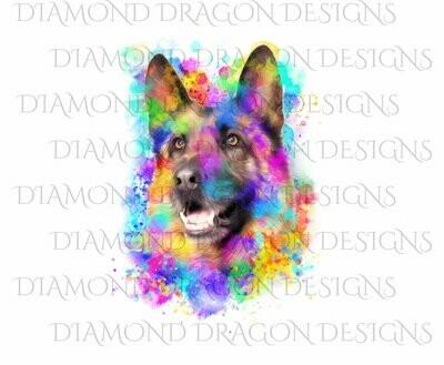 Dogs - Watercolor German Shepard, Rainbow German Shepard, Waterslide