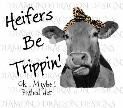 Cows - Heifer, Image, Heifers Be Trippin, Leopard Bandana, Leopard Print, Cowlick, Cute Cow Tongue, Waterslide