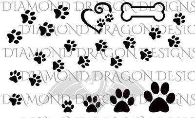 Dogs - Paw Prints, Bone, Various Sizes, Full Sheet, Waterslide