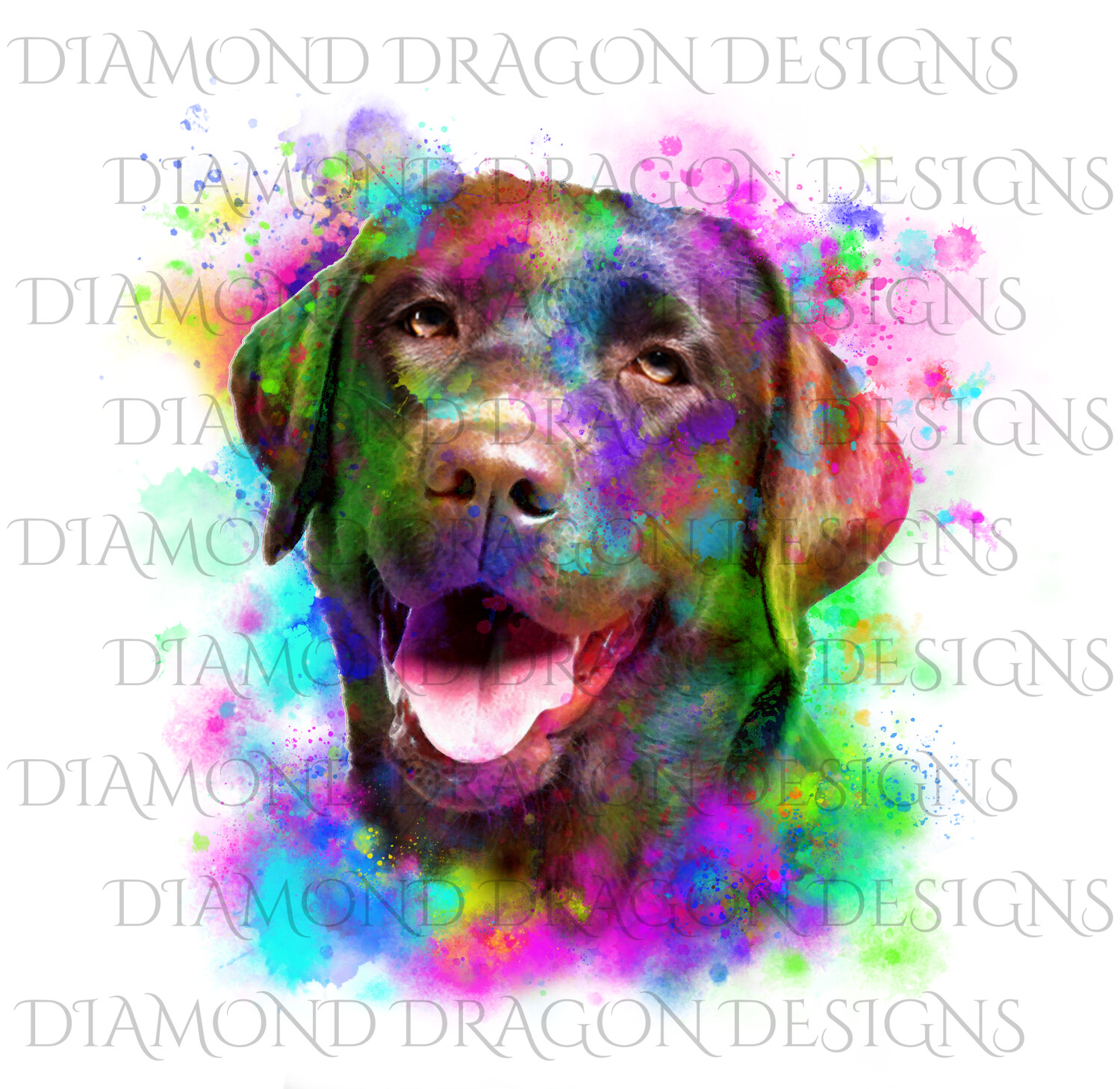 Dogs - Watercolor Labrador, Rainbow Chocolate Lab, Watercolor dog, Waterslide