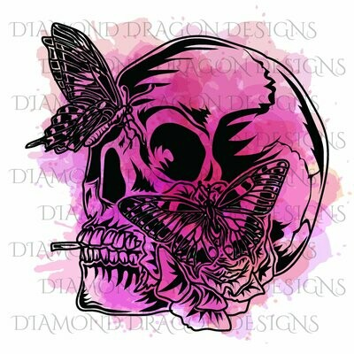 Skulls - Butterfly, Skull, Pink, Watercolor, Butterfly Skull, Waterslide