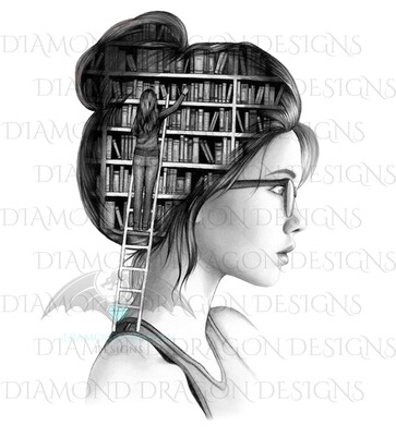 Books - Lady Library, Book Girl, Book Lover, Woman with Books, Bookshelf, Black and White, Waterslide