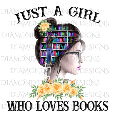 Books - Just a Girl Who Loves Books, Lady Library, Yellow Floral, Waterslide