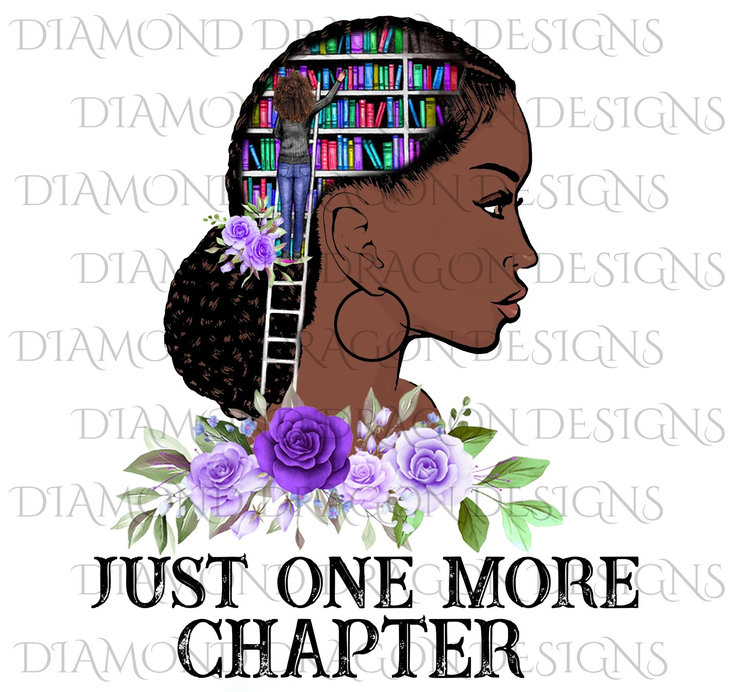Books - Just One More Chapter, Lady Library, Purple Floral, Waterslide