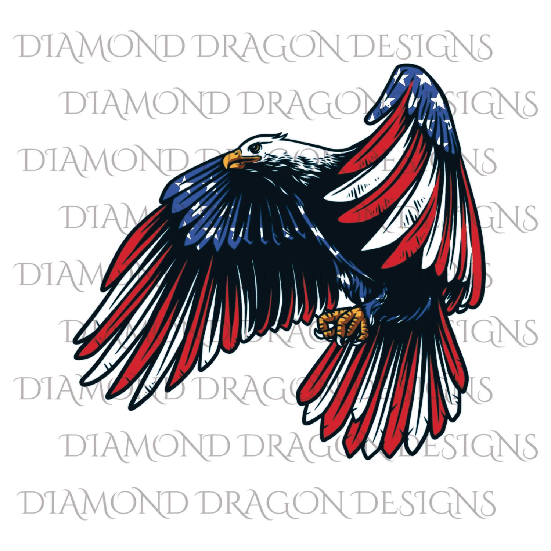 Patriotic - America, Patriotic Eagle, American Flag, 4th of July, USA, Vintage, Waterslide
