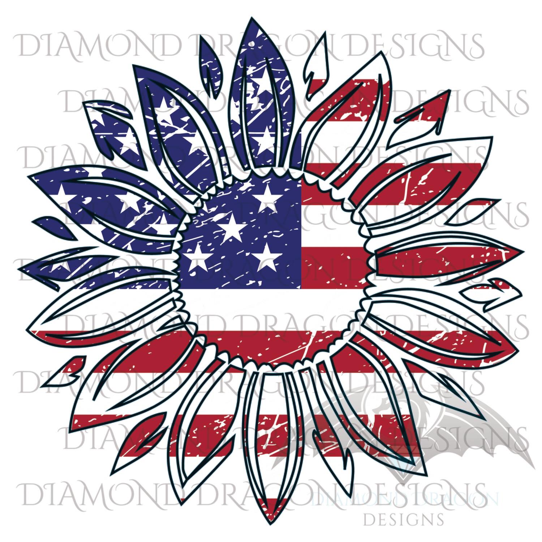 Patriotic - America, Patriotic Sunflower, Sunflower American Flag, 4th of July, USA, Vintage, Waterslide
