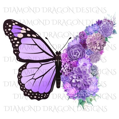 Butterflies - Succulent Butterfly, Monarch Butterfly, Watercolor Butterfly, Light Purple Full Succulent, Waterslide