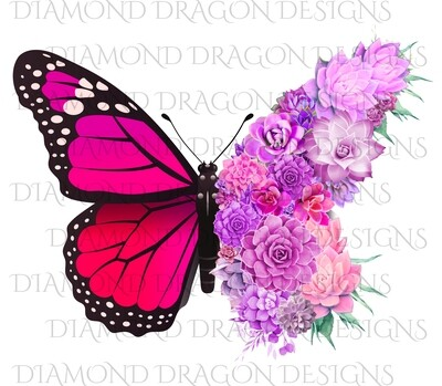 Butterflies - Succulent Butterfly, Monarch Butterfly, Watercolor Butterfly, Pink Full Succulent, Waterslide