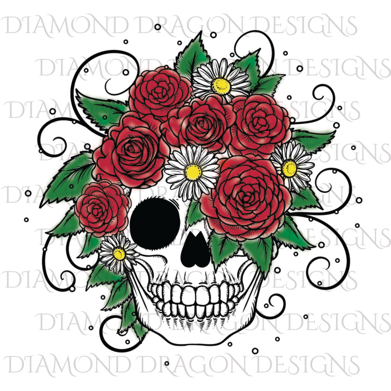 Skulls - Spray Paint Rose Skull, Waterslide