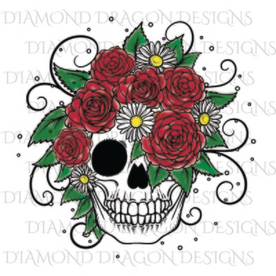 Skulls - Spray Paint Rose Skull, Waterslide