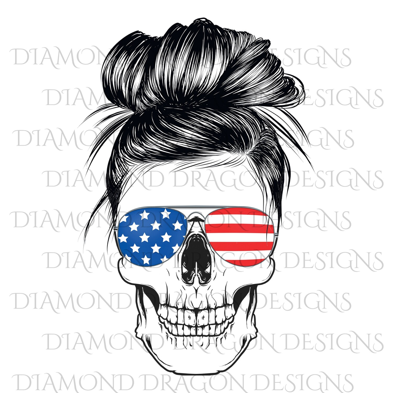 Skulls - Patriotic Flag Sunglasses, Messy Bun Skull, Waterslide