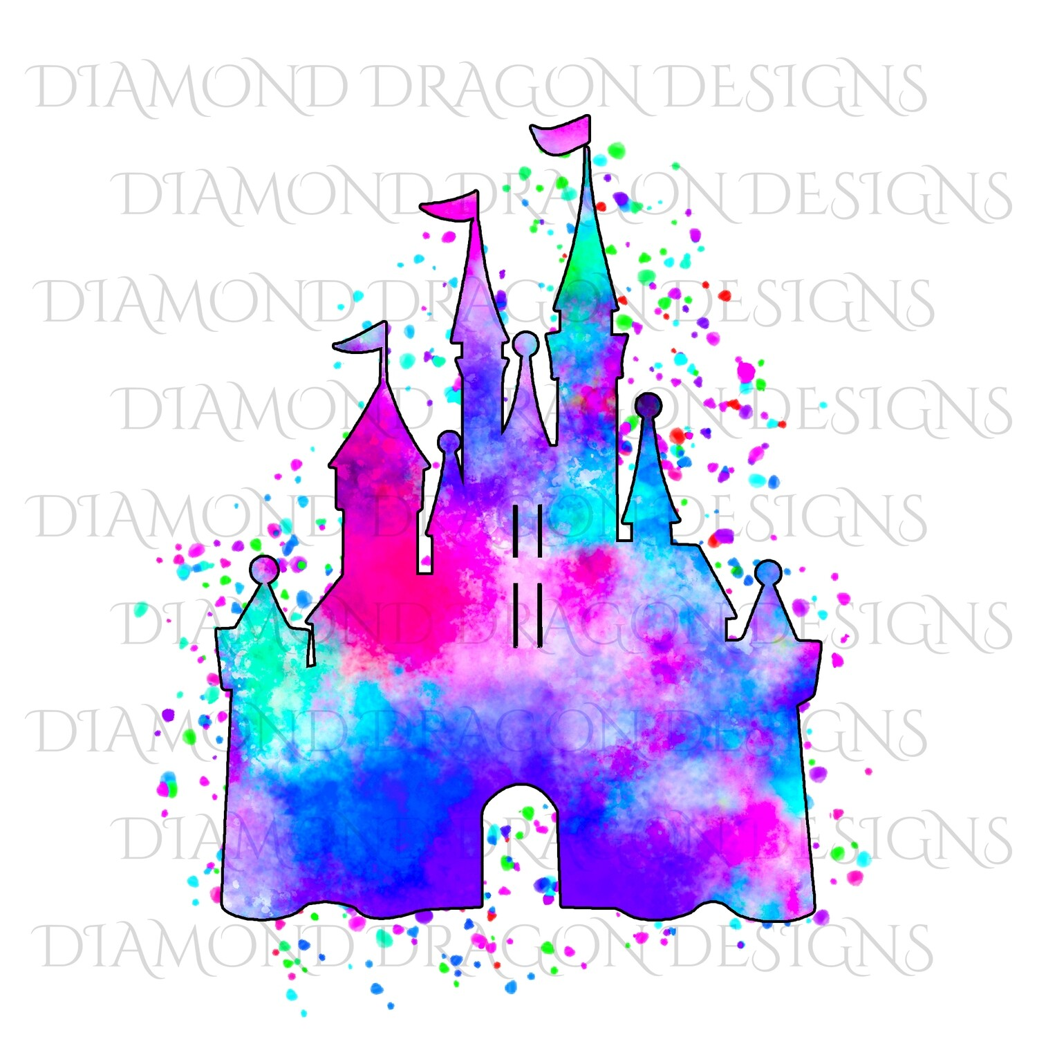 Characters - Magical Castle, Watercolor Galaxy Castle, Waterslide