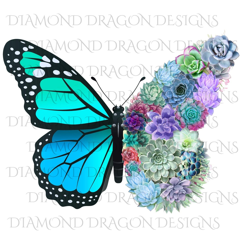 Butterflies - Succulent Butterfly, Monarch Butterfly, Watercolor Butterfly, Aqua, Waterslide