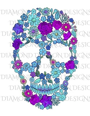 Skulls - Floral Blue and Purple Sugar Skull, Waterslide