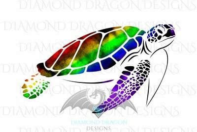Turtles - Sea Turtle, Watercolor Sea Turtle, Rainbow Sea Turtle, Waterslide
