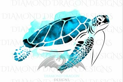 Turtles - Sea Turtle, Watercolor Sea Turtle, Aqua Blue Sea Turtle, Waterslide