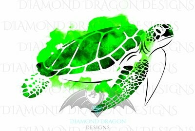 Turtles - Sea Turtle, Watercolor Sea Turtle, Green Sea Turtle, Waterslide