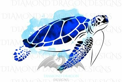 Turtles - Sea Turtle, Watercolor Sea Turtle, Sapphire Blue Sea Turtle, Waterslide