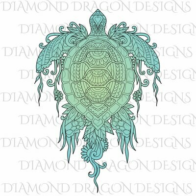 Turtles - Sea Turtle, Line Art Sea Turtle, Teal Sea Turtle, Floral Sea Turtle, Waterslide