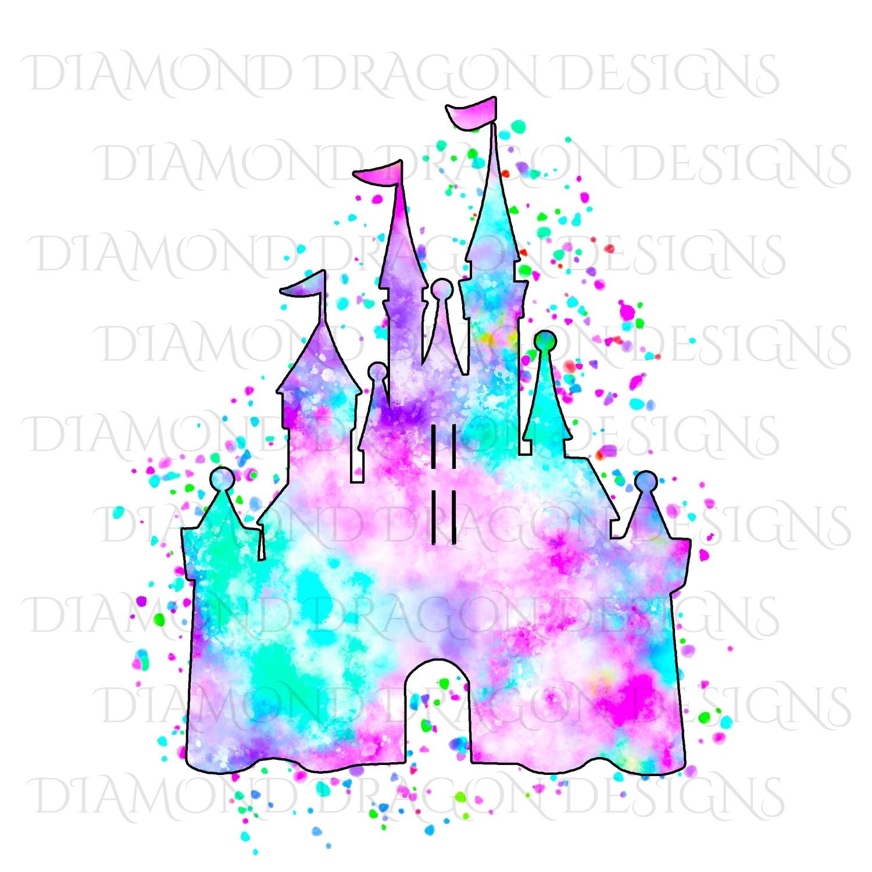 Characters - Magical Castle, Watercolor Pastel Castle, Waterslide