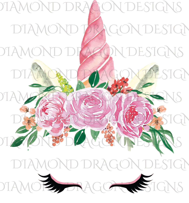 Unicorn -  Floral Pink Unicorn, Waterslide