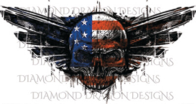 Skulls - Patriotic Flag Skull, Grunge Wings, Waterslide