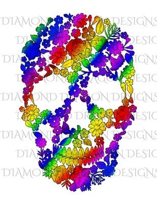 Skulls - Floral Rainbow Sugar Skull, Waterslide