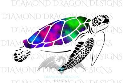 Turtles - Sea Turtle, Galaxy Sea Turtle, Rainbow Sea Turtle, Watercolor Sea Turtle, Waterslide