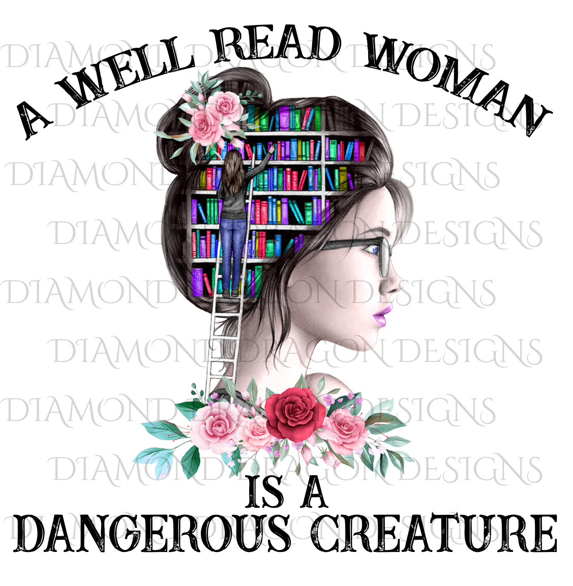 Books - A Well Read Woman, Lady Library, Book Girl, Pink Floral, Waterslide