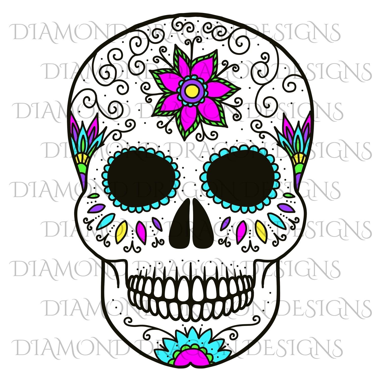 Skulls - Colorful Flower Sugar Skull, Waterslide
