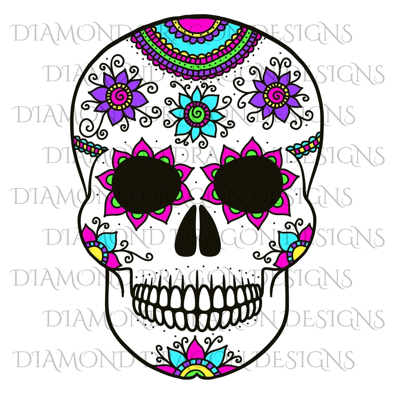 Skulls - Colorful Flowers Sugar Skull, Waterslide