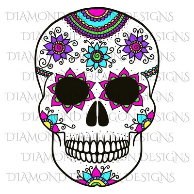 Skulls - Colorful Flowers Sugar Skull, Waterslide