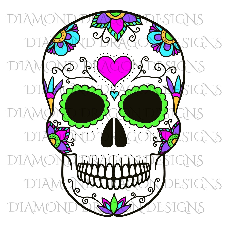 Skulls - Colorful Heart Sugar Skull, Waterslide