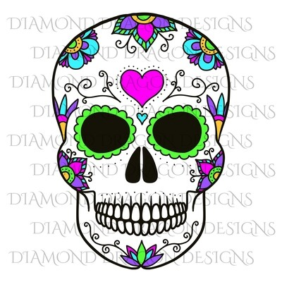 Skulls - Colorful Heart Sugar Skull, Waterslide