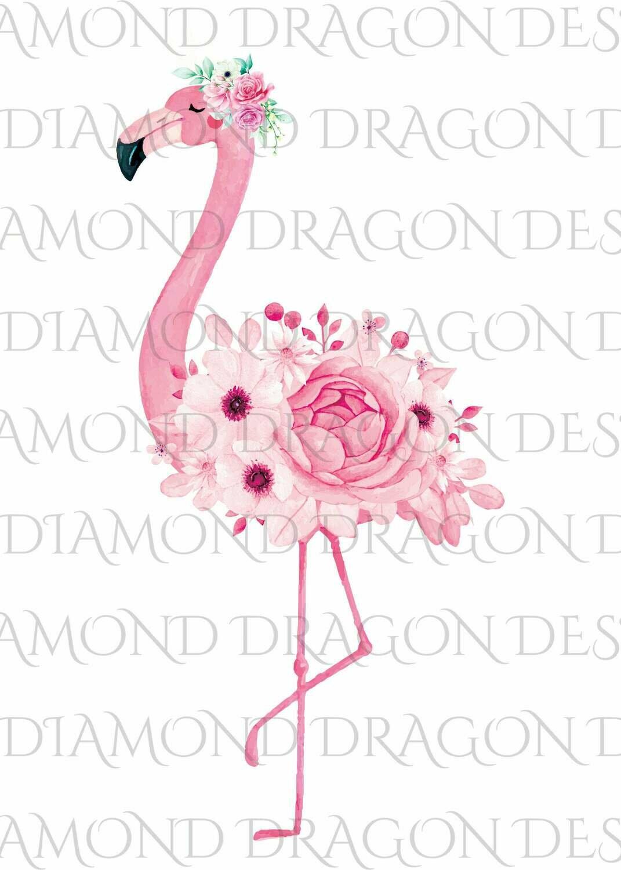 Flamingos - Watercolor Floral Flamingo, Flower Flamingo, Watercolor Flamingo, Digital Image