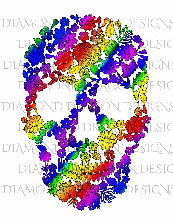 Skulls - Sugar Skull, Rainbow Flowers Skull, Floral Sugar Skull, Digital Image